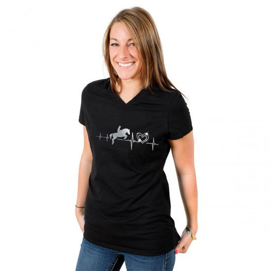 Glittering heart ladies t-shirt with real crystals - V-neck - black - My heart beats for horses