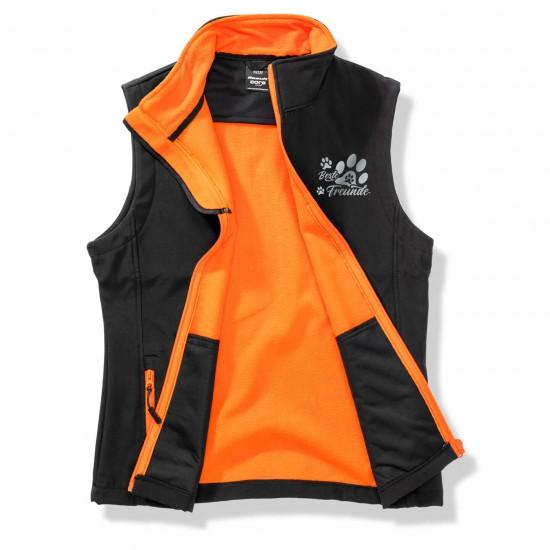 Dog Sport Vest - Softshell Vest with reflective design - black/orange - REFLECTION SERIES