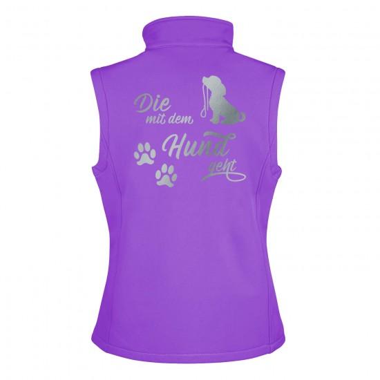 Dog Sport Vest - Softshell Vest with reflective design - purple/black - REFLECTION SERIES