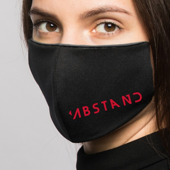 Reusable temporary mask printed with a distinctive slogan -black- (2 pieces)