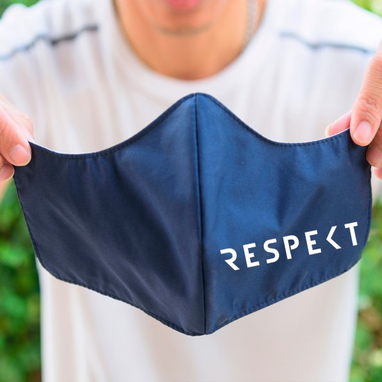 Reusable, antibacterial temporary mask printed with a distinctive slogan -blue- (2 pieces)