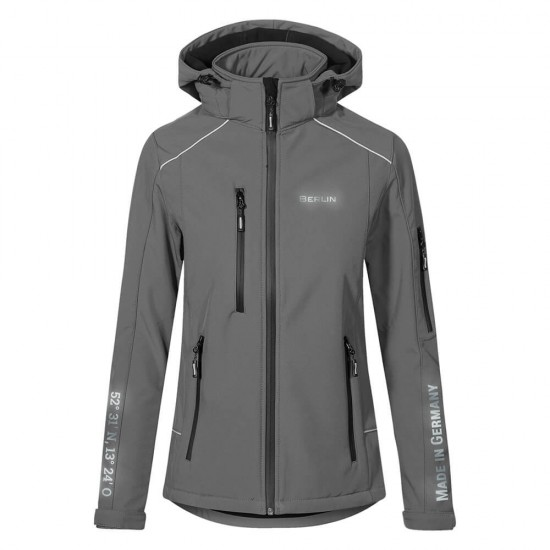 Lifestyle Softshell Jacket with reflective design and removable hood - WITH GERMAN CITY NAMES - Steelgrey - REFLECTION SERIES