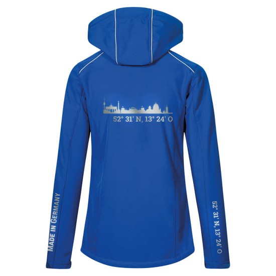 Lifestyle Softshell Jacket with reflective design and removable hood - WITH GERMAN CITY NAMES - Royal Blue - REFLECTION SERIES