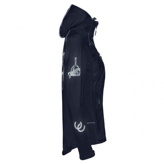Hooded Riding jacket RIDE-PERFORMANCE PX PROFESSIONAL - Navy Blue - Softshell with reflective design - Black - REFLECTION SERIES