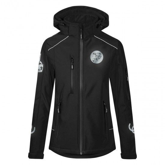 Hooded Riding jacket RIDE-PERFORMANCE PX PROFESSIONAL - Softshell with reflective design - Black - REFLECTION SERIES